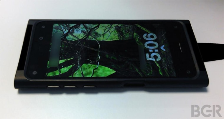 The tech blog BGR published photos that purportedly show the rumored Amazon smartphone, encased in a protective shell.