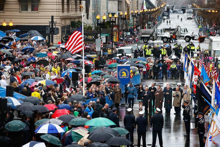 Image: Boston Commemorates One-Year Anniversary Of Marathon Terror Bombings