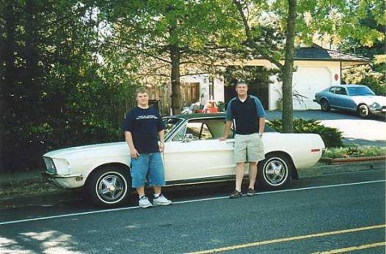 "Mary Vandehey shares a photo of her sons in front of the '68 Mustang her father purchased for her mother in 1968.  ""It's a rather rare gem with a 289 V8 and the special T-bird package that they made very few of. It withstood the adventure's of both my siblings and myself over the years and then three... grandchildren,"" Vandehey said in an email."