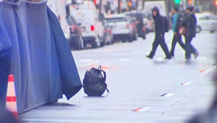 Image: A backpack that was left unattended on Boylston Street at the finish line of the Boston Marathon is pictured