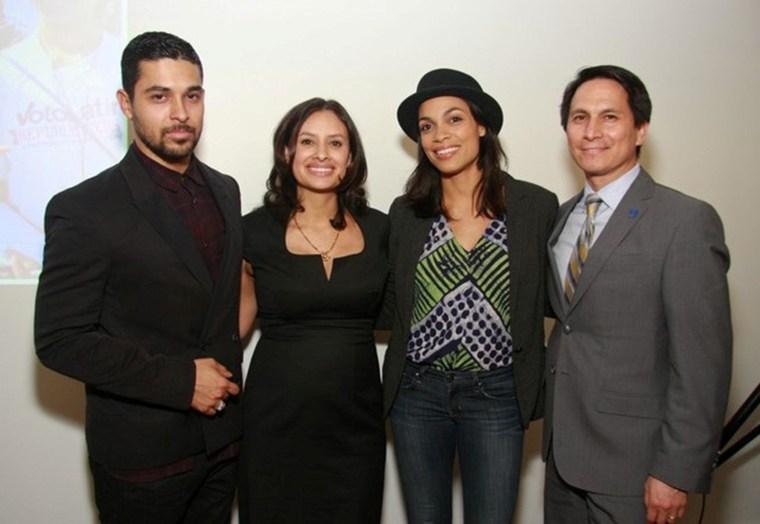 From left to right, Voto Latino's Wilmer Valderrama, Maria Teresa Kumar, Rosario Dawson and Frank D. Sanchez, Vice Chancellor at the City University of New York, at the Voto Latino 2014 Power Summit.