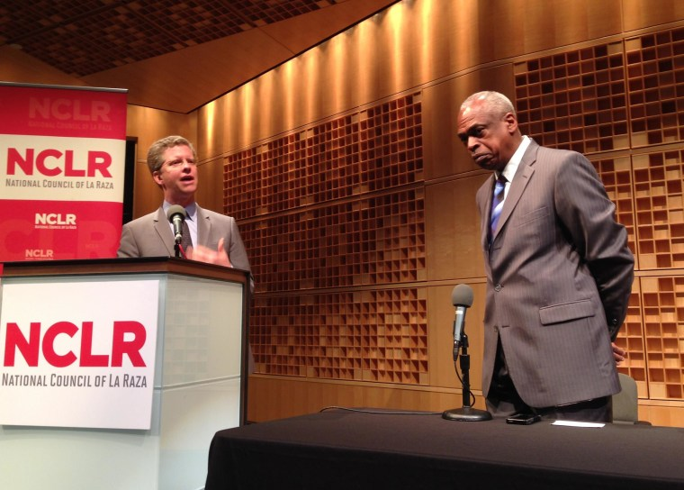 HUD Secretary Shaun Donovan discusses pending housing finance reform legislation and its effect on Latinos and other communities of color with Wade Henderson, president and CEO of The Leadership Conference on Civil and Human Rights, on April 16 at a forum sponsored by the National Council of La Raza.