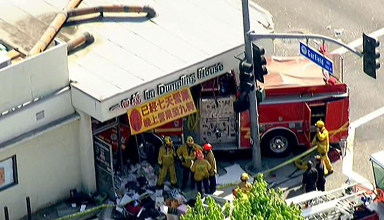 Image: A firetruck crashed into a restaurant in Monterey, Calif.