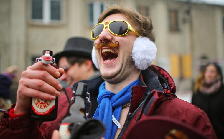 A young man participates in the 'Hipster Winter Cup 2013' in Berlin.