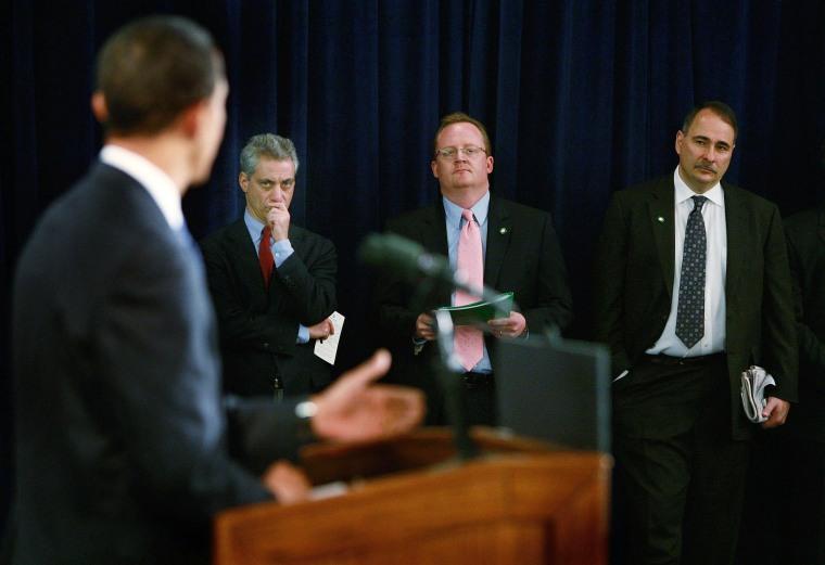 Image: Barack Obama, Rahm Emanuel, Robert Gibbs, David Axelrod in 2008