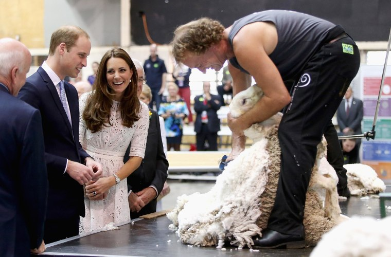 Image: Catherine, Duchess of Cambridge and Prince William, Duke of Cambridge watch a shearing demonstration as they visit the Sydney Royal Easter Show