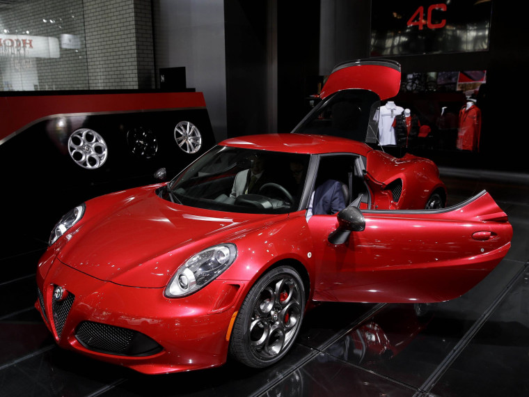 An Alfa Romeo 4C is displayed at the New York International Auto Show.