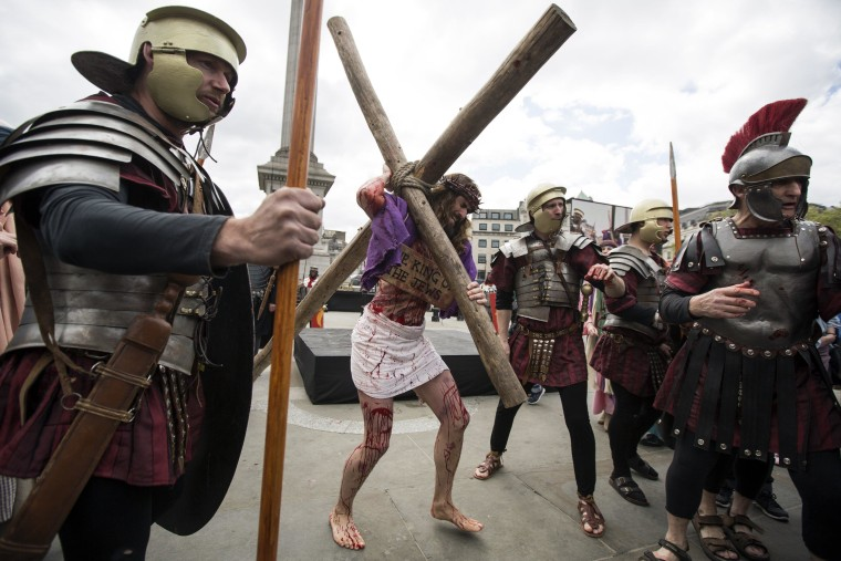 Image: Actors Perform The Easter Passion Of Jesus In Trafalgar Square