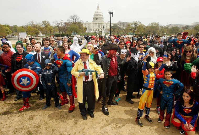 Superheroes and villains attend the 2014 Guinness World Records attempt to break the record for the largest gathering of people dressed as comic book characters on the National Mall on April 18, in Washington, DC. At 237 characters, the attempt fell short of the current record of more than 1,500 which was set in China in 2011.