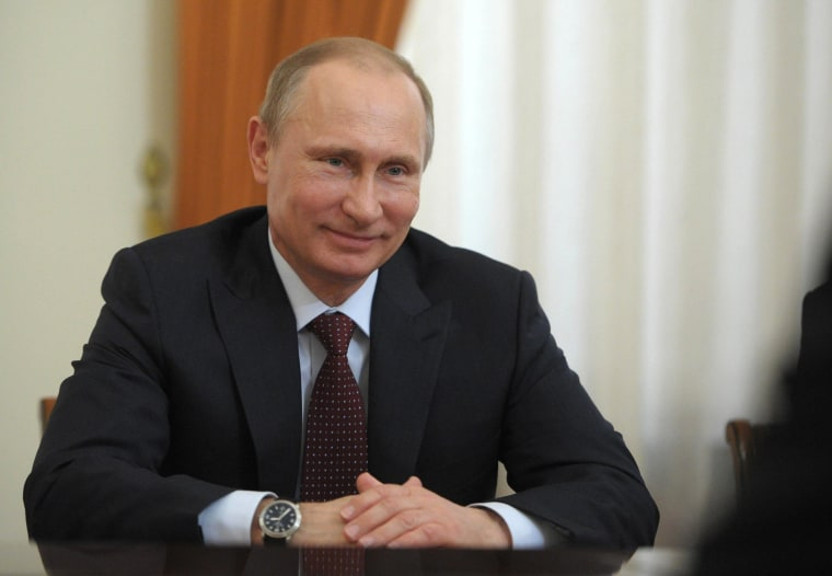 Russian President Vladimir Putin meets with Ben van Beurden (Not seen) the CEO of Royal Dutch Shell, commonly known as Shell, at Novo-Ogaryovo, suburban official residence of the President of Russia, Moscow, April 18, 2014.
