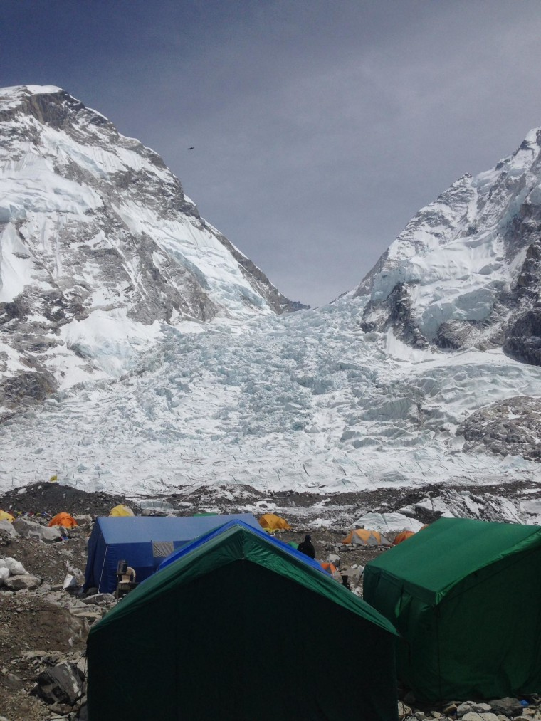 The icefall at Mount Everest after an avalanche Friday, April 18, 2014, that killed at least 13 Sherpas.