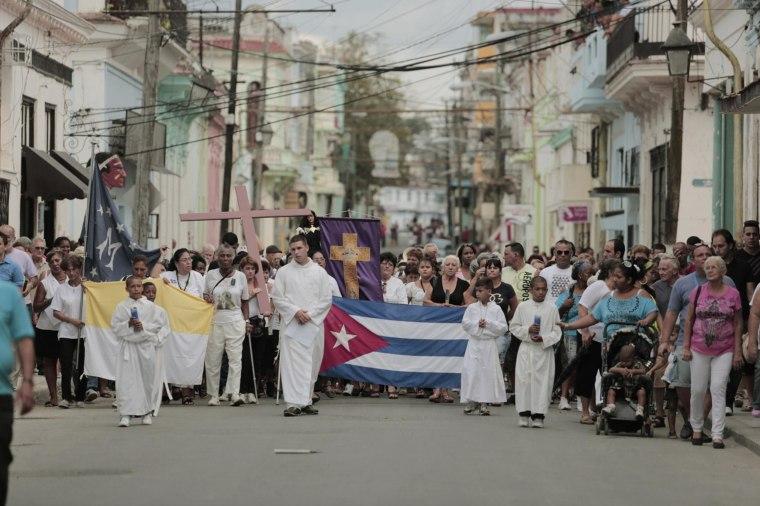 Cuba's Roman Catholics held a Good Friday procession in Regla, a small town across the Havana Bay.