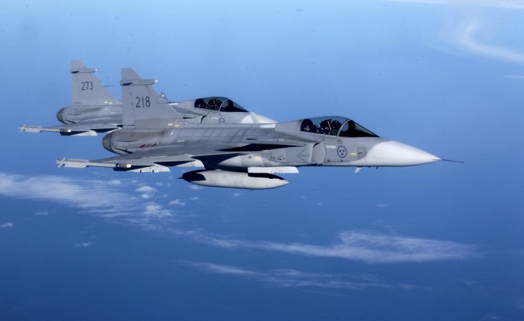 """Image: Sweden's Air Force \""""Grippen\"""" fighters"""