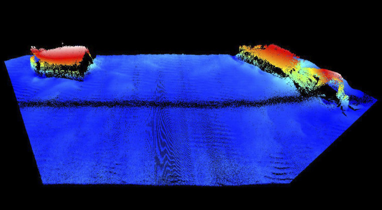 This 2014 sonar image released by Hydroid, Inc., shows wreckage of an American ship that sank to the ocean floor off the coast of England during World War II. The torpedo attack by German forces on U.S. landing ships, rehearsing during Exercise Tiger for the D-Day invasion of France's Normandy coast, claimed the lives of 749 U.S. soldiers and sailors on April 28, 1944.