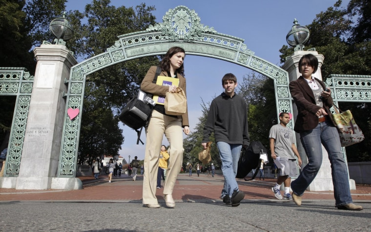 University of California Berkeley students walk through Sather Gate on the campus in Berkeley, Calif.