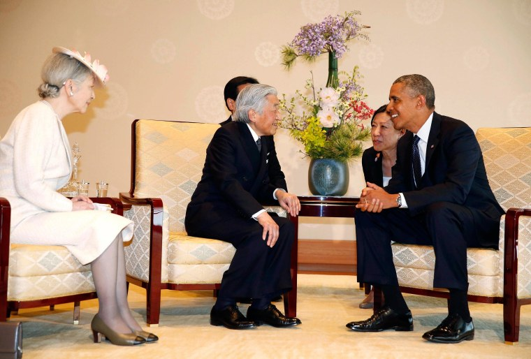 Image: U.S. President Barack Obama meets with Japanese Emperor Akihito and Empress Michiko at the Imperial Palace in Tokyo