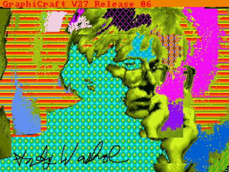 One of the 28 images recovered from floppies found in the Andy Warhol Museum's archives.