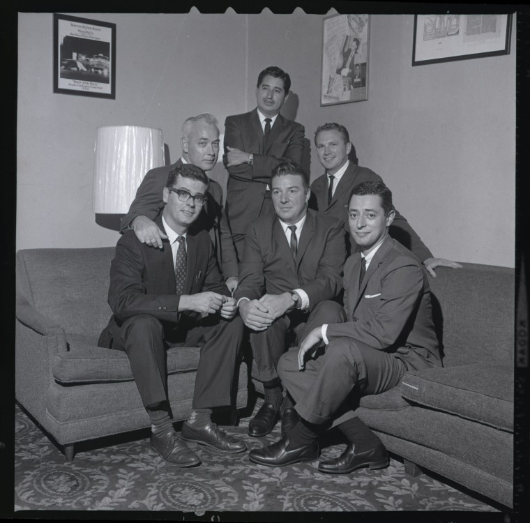 The late journalist Ruben Salazar, standing in the back, with other L.A. Times reporters