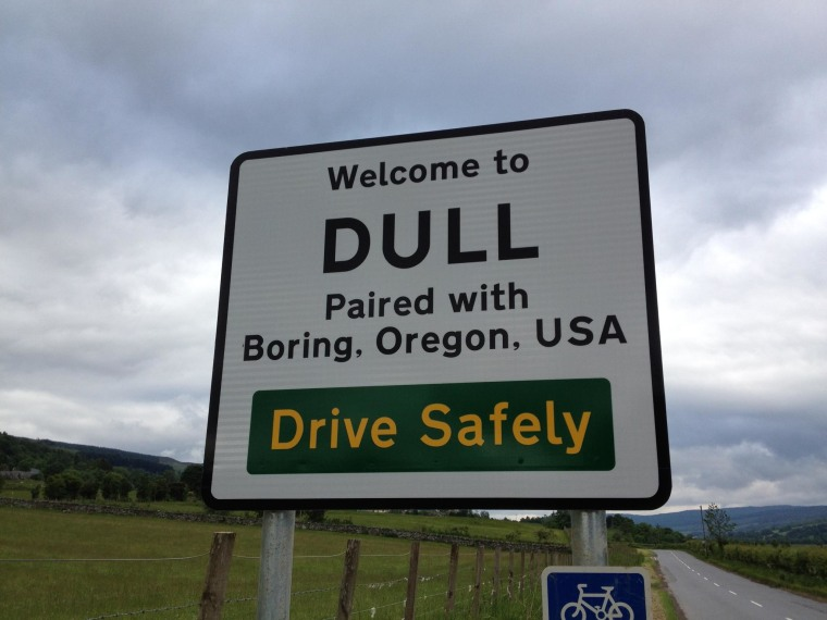 Image: The towns of Dull and Boring have teamed up to boost tourism.