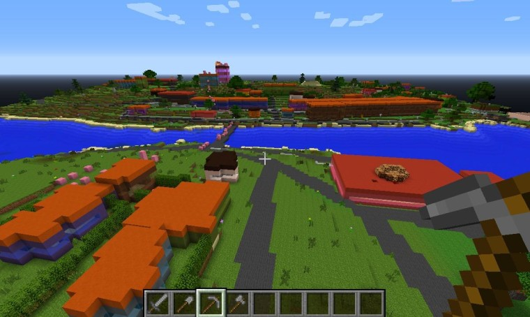 A view of a small town in eastern Denmark; hundreds of other cities are similarly represented in the Minecraft map created by the Danish Geodata Agency.
