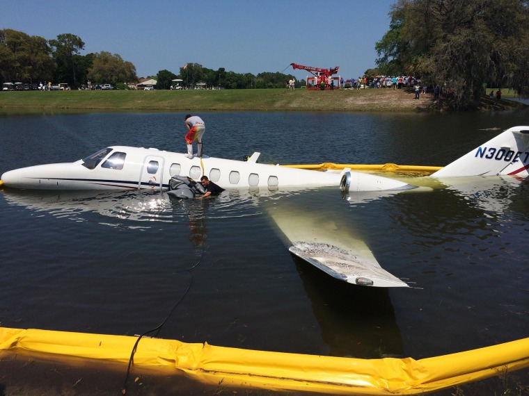 A jet rolled into a pond Saturday morning at the Spruce Creek Fly-In in Volusia County, Fla.