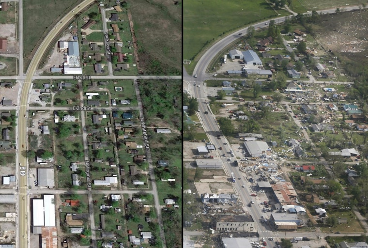 This combination photo shows the damage from the path of a tornado that ripped through Quapaw, Okla., on April 28.