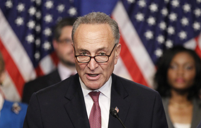 """Image: U.S. Senator Schumer, part of the U.S. Senate's """"Gang on Eight"""", speaks during a news briefing on Capitol Hill in Washington"""