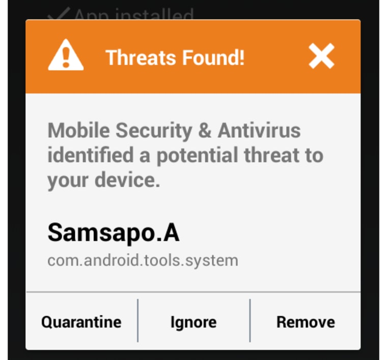 ESET's malware detection app brings up this alert when the software is detected.