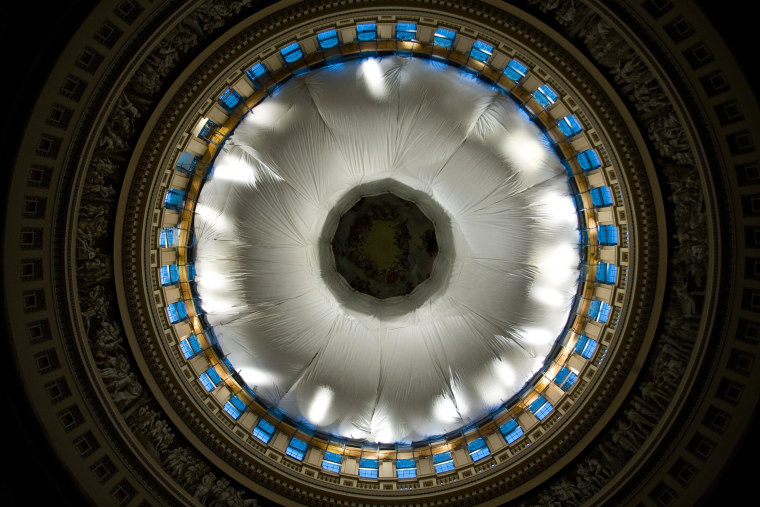 The Architect of the Capitol unveiled a protective netting in the rotunda of the U.S. Capitol on April 30.