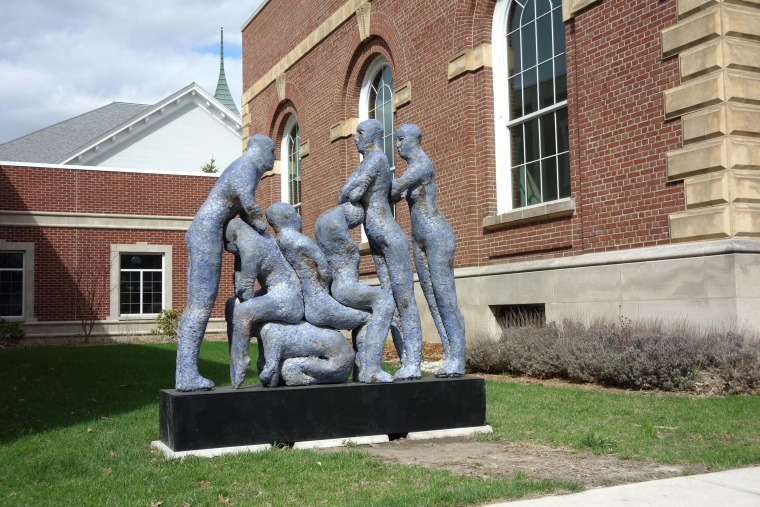 "Image: The sculpture ""Blue Human Condition"""