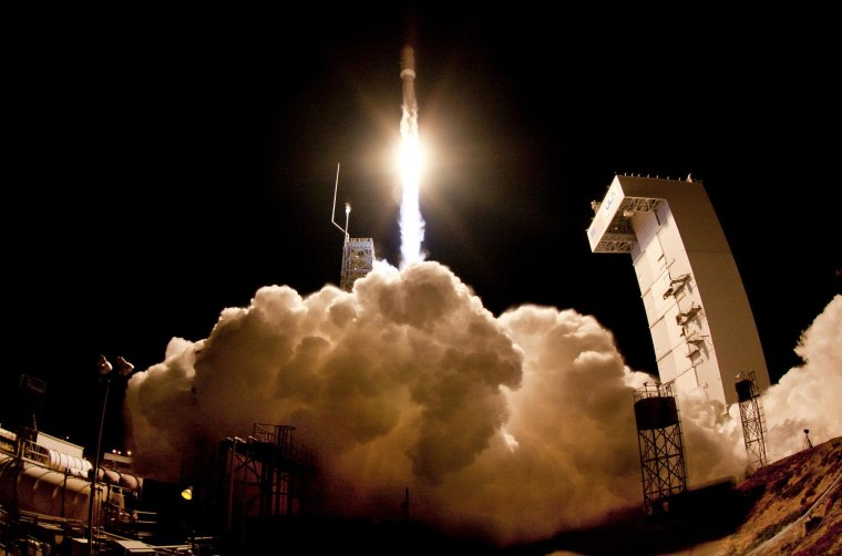 A United Launch Alliance Atlas 5 rocket launches the classified NROL-39 satellite from Vandenberg Air Force Base in California in December 2013.