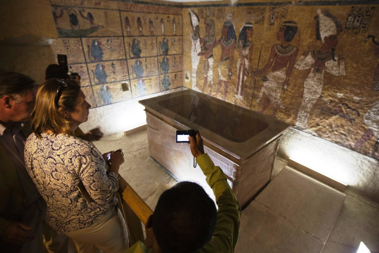 Diplomats and Egyptologists attend the opening of an exact replica of Tutankhamun's tomb in Luxor, Egypt, on Wednesday