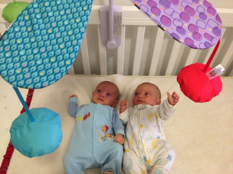 Five-month-old identical twins, from left, Walker and Henry Nighswander were born at 27 weeks.