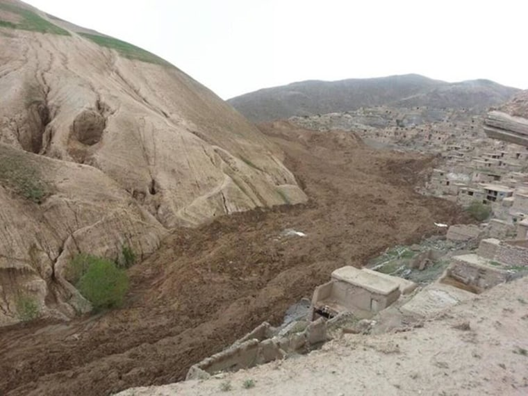 The scene of a landslide in a remote region in Afghanistan on Friday.