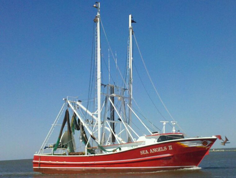 The boat of 63-year-old shrimp fisherman Carl Moore who discovered a goblin shark.