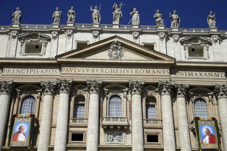 Image: The facade of St. Peter's Basilica at the Vatican on April 28