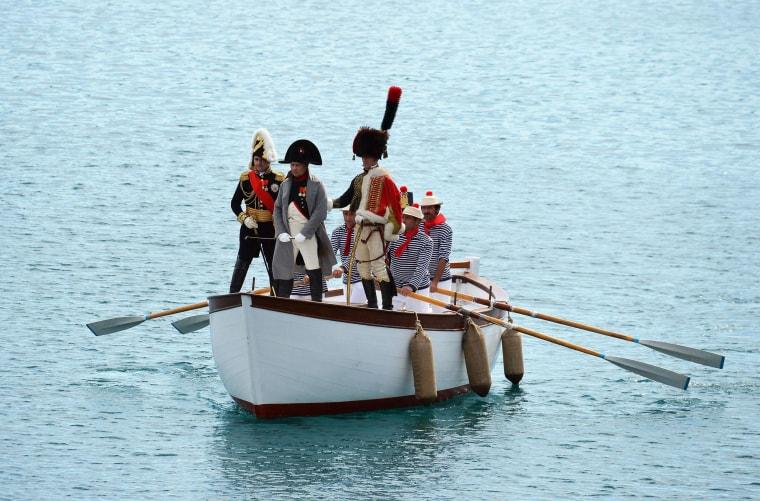 Image: Italian enthusiast Roberto Colla performs as Napoleon Bonaparte