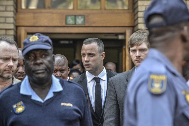 Image: Oscar Pistorius leaves court on Monday.