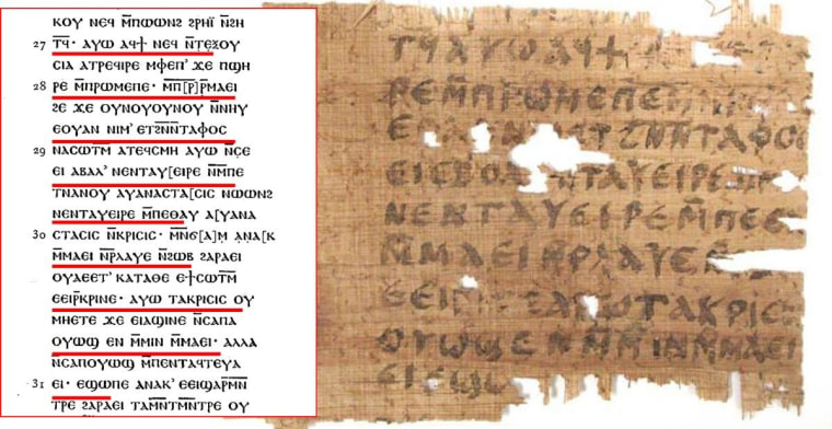 Image: The John papyrus fragment and transcription.