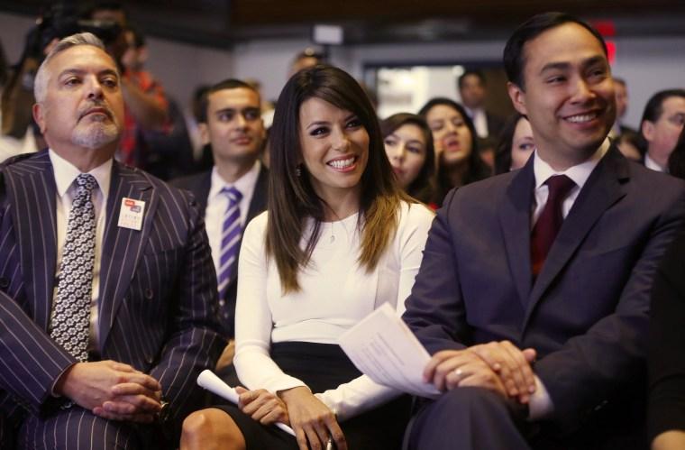 Image: Eva Longoria, Joaquin Castro, Henry R. Munoz III