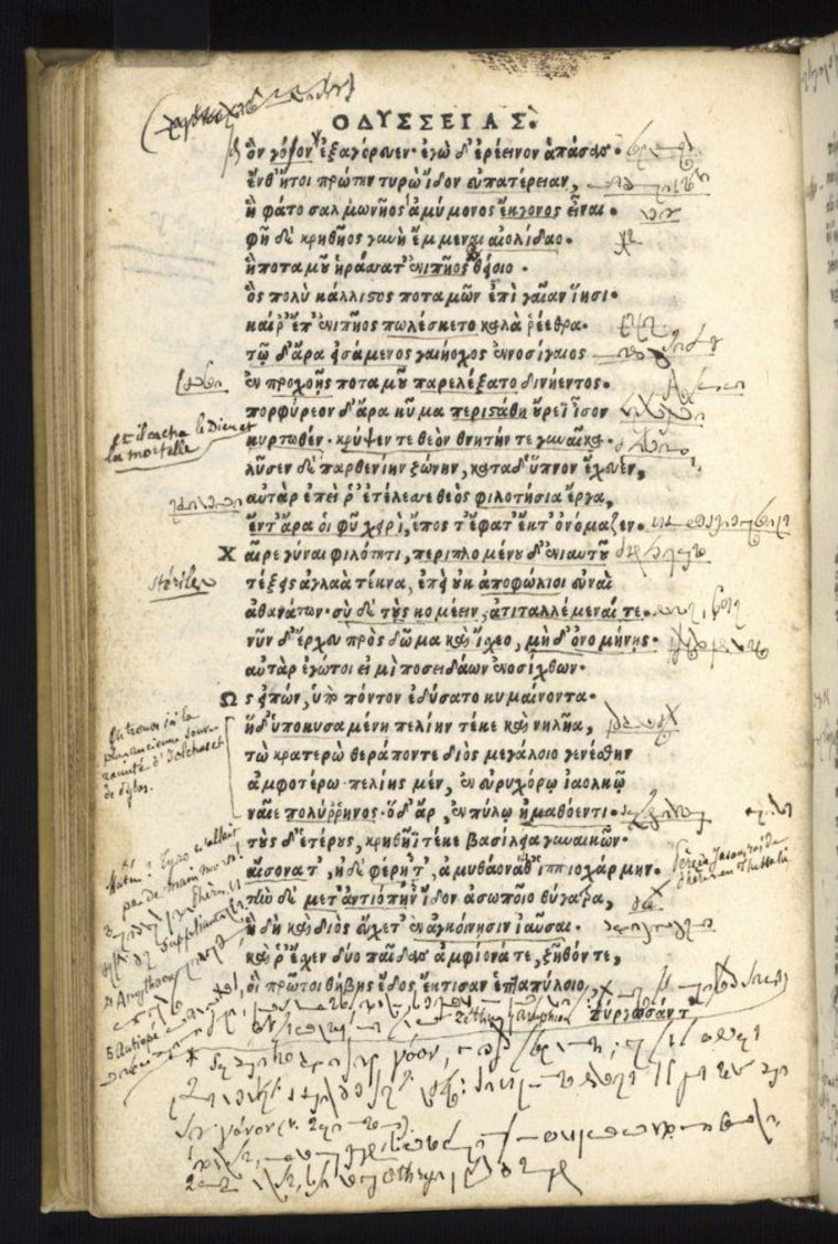 "Image: Script in 16th-century edition of Homer's ""Odyssey"""