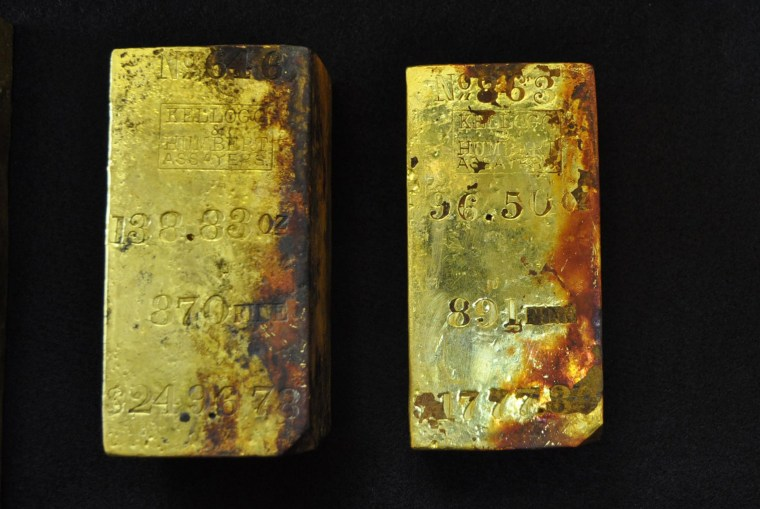 Image: Gold bars recovered from the wreck of the S.S. Central America off the South Carolina coast are seen in this April 15 photograph
