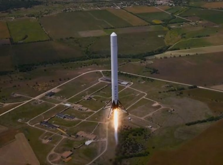 Screengrab from a video of SpaceX's Falcon 9 Reusable rocket during a test flight on May 1, 2014.