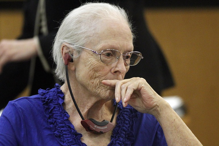 Alice Uden listens to the judge during jury selection  at the Laramie County District Court on April 29. Uden faces one count of first-degree murder for allegedly killing her husband nearly 40 years ago.