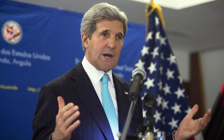 Image: U.S. Secretary of State John Kerry speaks during a news conference in Luanda