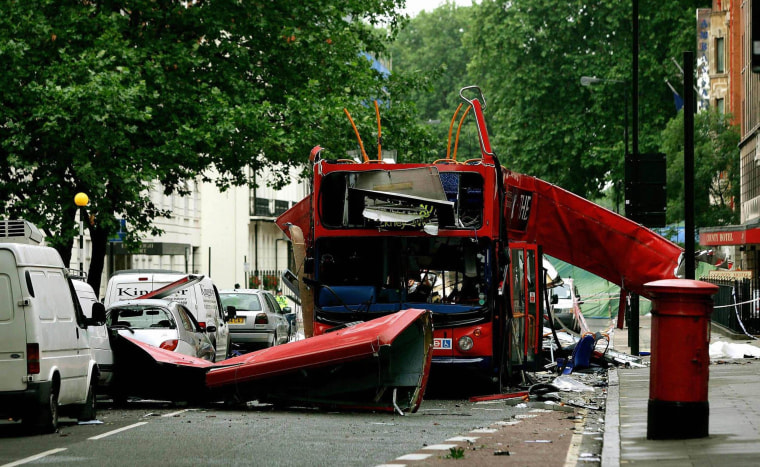 Image: A front view of the bus which was destroyed by a bomb in London