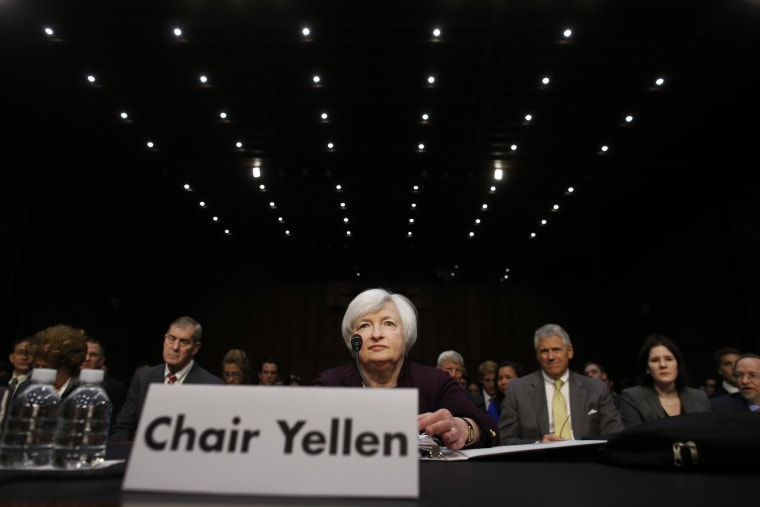 Fed chief Janet Yellen says the economy is on track for solid growth this quarter, but warned that a deterioration in housing or financial markets could alter that scenario.