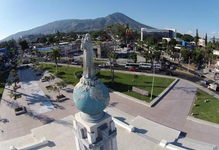 San Salvador's Plaza El Salvador del Mundo is seen from a drone launched by La Prensa Grafica.