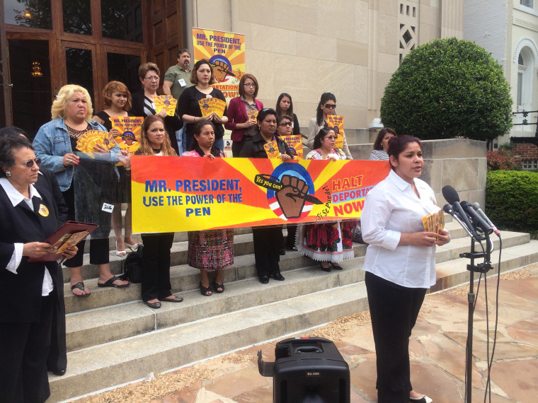 Image: A group of immigrant mothers urged President Barack Obama Wednesday to stop deportations and keep families together