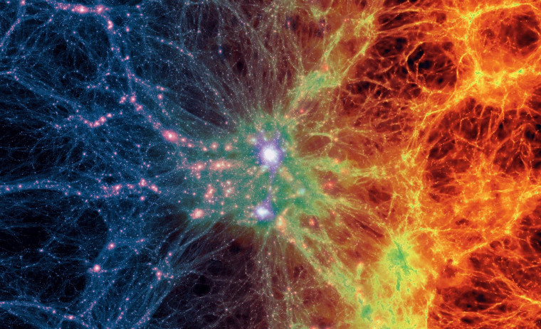 A view of Illustris's largest cluster, showing dark matter density (left) and gas density (right).